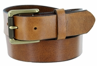 "413902 Men's One Piece Full Leather Casual Jean Belt Tan 1-3/8"" wide Hand-Cut Made in USA"