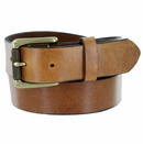 """413902 Men's One Piece Full Leather Casual Jean Belt Tan 1-3/8"""" wide Hand-Cut Made in USA"""