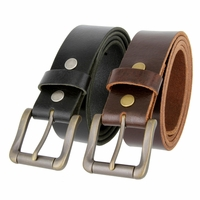 "4317103 Roller Buckle Casual Jean Belt Full Grain Leather Belt 1-1/2"" Wide"