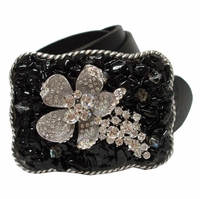 43182 Rhinestone Buckle Leather Belt