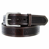 4500500 John Deere Men's Basketweave Embossed Casual Jean Belt - Dark Brown