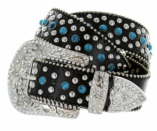 50116 Turquoise and Crystal leather Belt