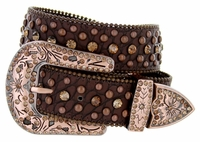 "50116 Western Rhinestone Crystal Leather Belt 1-1/2"" - Brown"