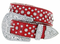 "50116 Western Rhinestone Crystal Leather Belt 1-1/2"" - Red"