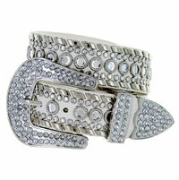 "50118 Rhinestone Western Belt 1. 5"" Wide - White"