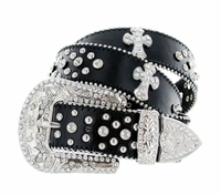 50121 Genuine Leather Rhinestone Cross Conchos Studded Belt - Black