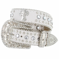 50121 Genuine Leather Rhinestone Cross Conchos Studded Belt - White