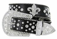 50124 Western Cowgirl Fleur-de-lis Bling Rhinestone Leather Belt - Black