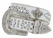 50124 Western Cowgirl Fleur-de-lis Bling Rhinestone Leather Belt - White