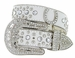 Deal of Today 50125 Western Cowgirl Bling Horseshoe Rhinestone Leather Belt - White