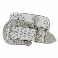 Deal of Today $16.99 Rhinestone Belt 50127 White