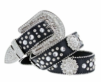 50128 Genuine Leather Rhinestone Berry Conchos Studded Belt - Black