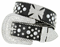 50130 Western Cowgirl Bling Cross Rhinestone Leather Belt - Black