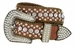 "50158 Women's Western rhinestone studded Leather Belt 1-1/2"" Wide - Brown1"