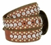 "50158 Women's Western rhinestone studded Leather Belt 1-1/2"" Wide - Brown2"