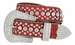 "50158 Women's Western rhinestone studded Leather Belt 1-1/2"" Wide - Red1"