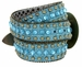"50158 Women's Western rhinestone studded Leather Belt 1-1/2"" Wide - Teal2"