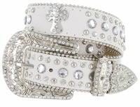 50161 Genuine Leather Rhinestone Cross Conchos Studded Belt - White