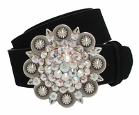 "5058 Swarovski Rhinestone Crystal Berry Buckle Leather Belt 1 1/2"" Wide"