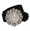 "5058 Swarovski Rhinestone Crystal Berry Buckle Suede Leather Belt 1 1/2"" Wide"