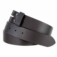 "5135 Made in USA One Piece Full Leather Belt Strap 1-3/8"" (35mm) Wide - Black"