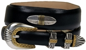 5544 Italian Leather Concho Belt-Smooth Black