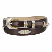 5544 Italian Leather Concho Belt-Smooth Brown