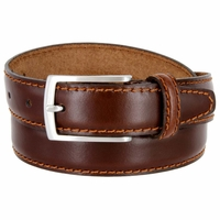 "5549/30 Men's Italian Leather Dress Casual Belt 1-1/8"" Wide Made in Italy - Bruciato (Med. Brown)"