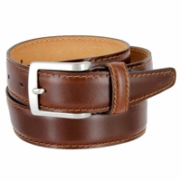 "5549/35 Men's Italian Leather Dress Casual Belt 1-3/8"" Wide Made in Italy - Bruciato (Med. Brown)"
