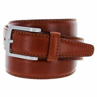 "Men's Italian Leather Dress Casual Belt 1-3/8"" Wide Made in Italy - Marrone (Tan)"
