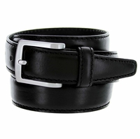 "Men's Italian Leather Dress Casual Belt 1-3/8"" Wide Made in Italy - Nero (Black)"