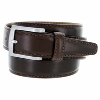 "5549/35 Men's Italian Leather Dress Casual Belt 1-3/8"" Wide Made in Italy - T. Moro (Dark Brown)"