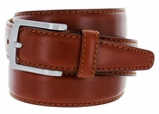 "5549/35 Men's Italian Leather Dress Casual Belt 1-3/8"" Wide Made in Italy - Marrone (Brown)"
