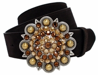 "5589 Swarovski Rhinestone Crystal Berry Buckle Leather Belt 1 1/2"" Wide"