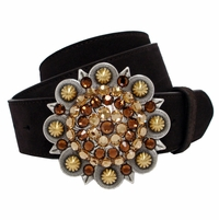 "5589 Swarovski Rhinestone Crystal Berry Buckle Suede Leather Belt 1 1/2"" Wide"