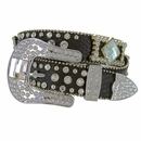 "6013 Women's Western Rhinestones Studded Leather Belt 1-1/2"" Wide Black"