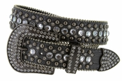 "6015 Women's Western Rhinestones Studded Leather Belt 1-1/2"" Wide Black"