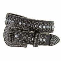 "6015 Women's Western Rhinestones Studded Leather Belt 1-1/2"" Wide Gray"