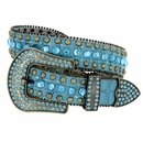 "6015 Women's Western Rhinestones Studded Leather Belt 1-1/2"" Wide Turquoise"