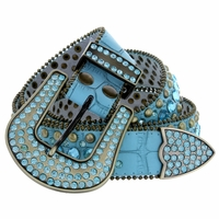 "6015 Women's Western rhinestone-studded Leather Belt 1-1/2"" Wide Turquoise"