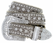 "6018 Women's Western Rhinestones Studded Leather Belt 1-1/2"" Wide Grey"