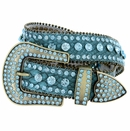 "6018 Women's Western Rhinestones Studded Leather Belt 1-1/2"" Wide Turquoise"