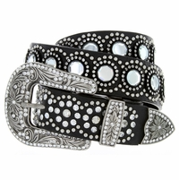 "6103 Women's Western Rhinestones Studded Leather Belt 1-1/2"" Wide Black"