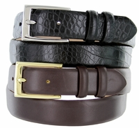 "6166 Men's Italian Calfskin Leather Dress Belt  1-1/8"" Wide"