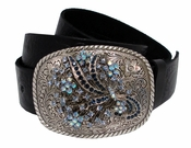 "685 Rhinestone Buckle Engraved Tooling Full Grain Leather Belt 1 1/2"" Wide"