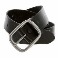"695 Men's One Piece Full Grain Leather Casual Jean Belt 1-1/2"" wide - Black"