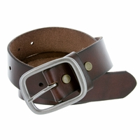 "695 Men's One Piece Full Grain Leather Casual Jean Belt 1-1/2"" wide - Brown"