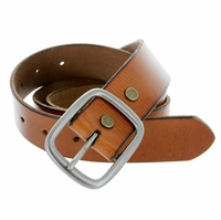 "695 Men's One Piece Full Grain Leather Casual Jean Belt 1-1/2"" wide - tan"