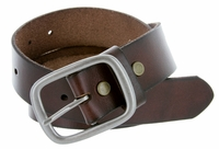 "695 Men's One Piece Full Leather Casual Jean Belt 1-1/2"" wide - Brown"
