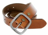 "695 Men's One Piece Full Leather Casual Jean Belt 1-1/2"" wide - tan"